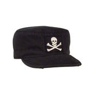 Black Skull & Crossbones Vintage Fatigue Cap - View