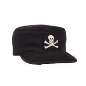 Black Skull & Crossbones Vintage Fatigue Cap - View