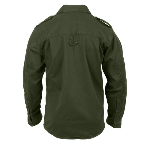 Ultra Force Vintage Olive Drab Fatigue Shirt - Back View
