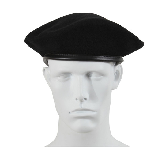 Military Style Black Wool Beret - View