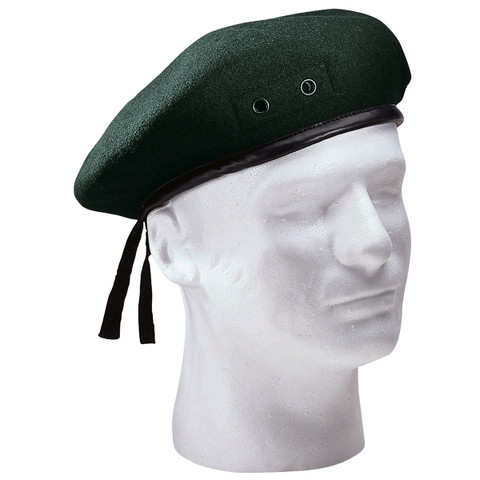 Military Style Green Wool Beret - View