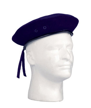 Military Style Navy Wool Beret - View