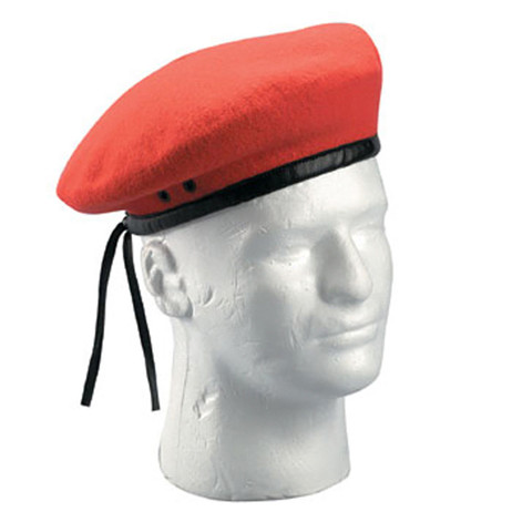 Military Style Red Wool Beret - View