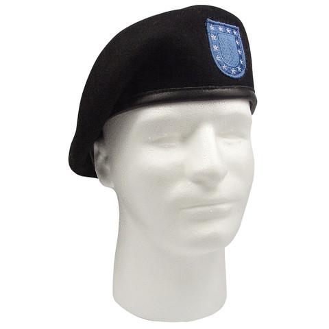 Inspection Ready Black Wool Beret w/Blue Flash - View