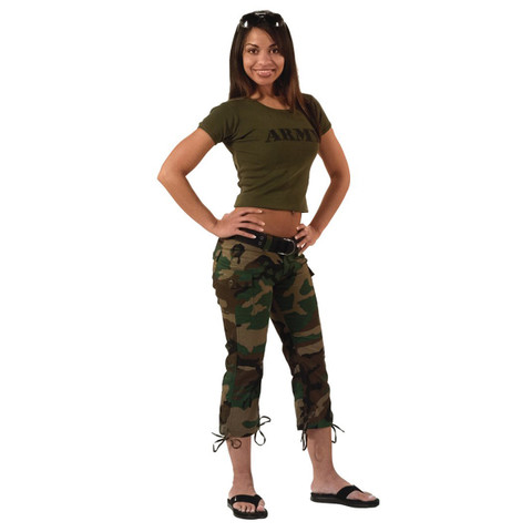 Rothco Women's Woodland Camo Fashion Capri Pant - Model