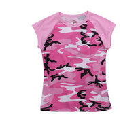 Women's Pink Camo Raglan T Shirt - View