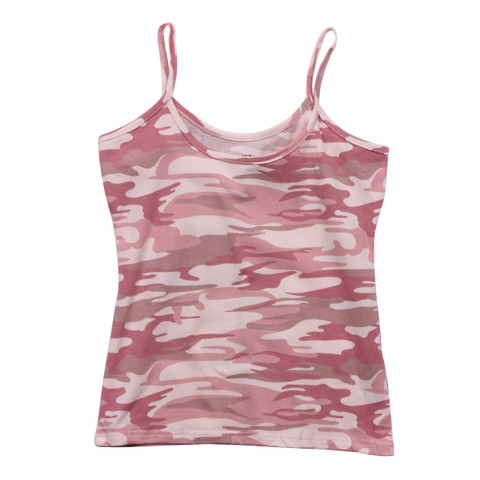 Women's Baby Pink Camo Tank Top - Flat View