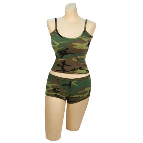 Womens Fashion Woodland Camo Tank Top - Full View