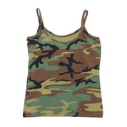 Womens Fashion Woodland Camo Tank Top - Flat View