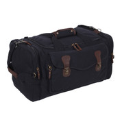 Vintage Black Canvas Weekender Bag - Side View