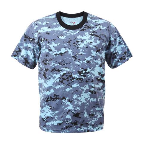 Sky Blue Digital Camo T Shirt - Front View