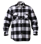 Extra Heavyweight Buffalo White Plaid Flannel Shirts - Front View