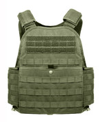 Olive Drab MOLLE Plate Carrier Vest  -  Rear View