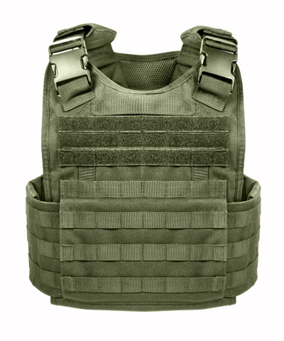 Olive Drab MOLLE Plate Carrier Vest  - Front View