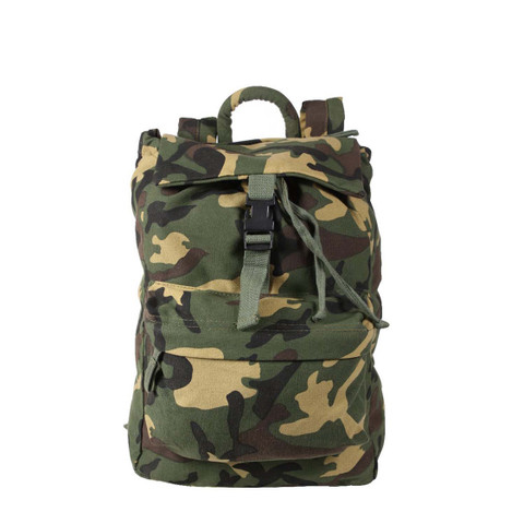 Woodland Camo Canvas Daypack - View