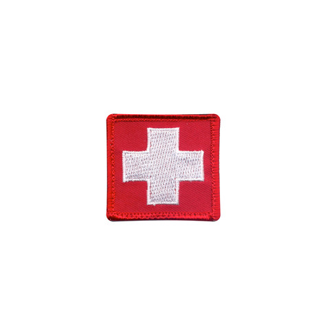 White Cross Red Morale Velcro Patch - View