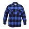 Extra Heavy Buffalo Blue Plaid Sherpa Lined Flannel Shirt - Front View