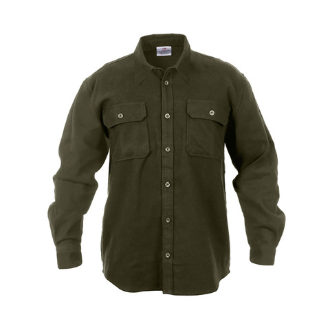 Field Olive Extra Heavyweight Buffalo Solid Flannel Shirts - Front View