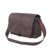 Rothco Brown Leather Classic Messenger Bag - Strap View