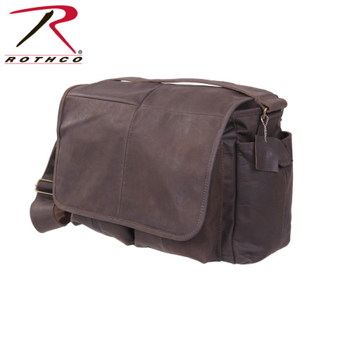 Rothco Brown Leather Classic Messenger Bag - View
