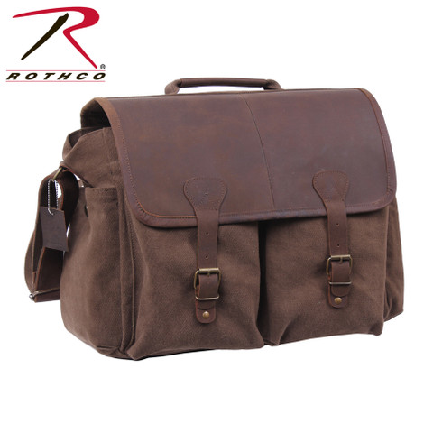 Vintage Officers Brown Leather Messenger Bag - Rothco View