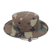 Adjustable Woodland Camo Boonie Hat - Front View