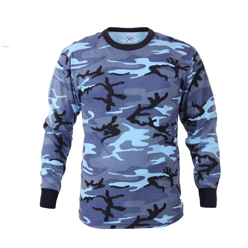 59c4897d5e27 Shop Sky Blue Camo Long Sleeve T Shirts - Fatigues Army Navy