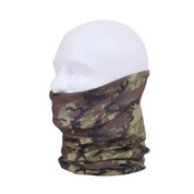 Woodland Camo Multi Use Tactical Wrap - Neck View