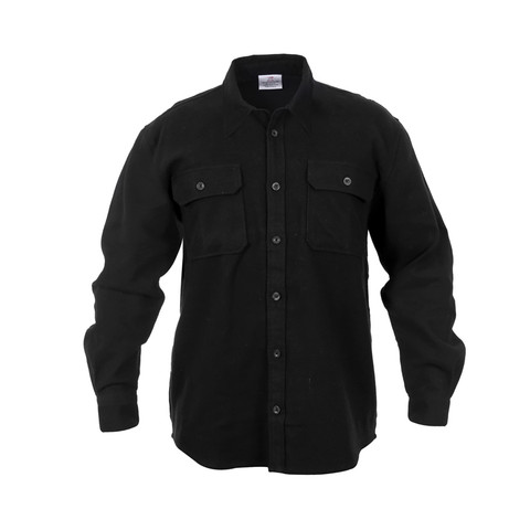 Extra Heavyweight Solid Black Flannel Shirts - Front View