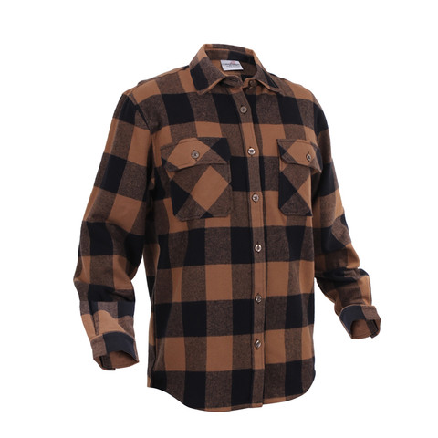 Extra Heavyweight Brown Buffalo Plaid Flannel Shirts - Right Angle View