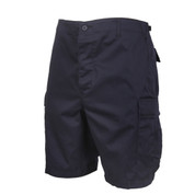 Midnight Navy Blue Military BDU Shorts - Left Side View