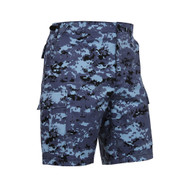 Blue Digital Camo BDU Military Shorts - Side Angle View