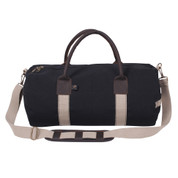 "Deluxe 19"" Black Canvas & Leather Gym Bag - Front View"