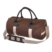 "Deluxe 19"" Canvas & Leather Gym Bags - Side Angle View"