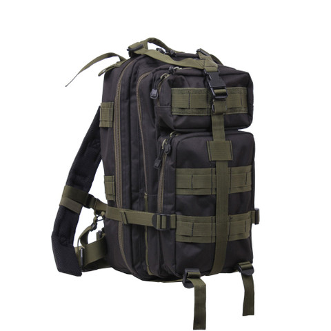 Black/Olive Medium Transport Backpacks - Front View