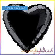 Midnight Black Heart Shaped Foil Balloon