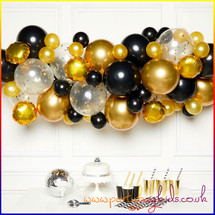 Gold and Black Balloon Garland Kit
