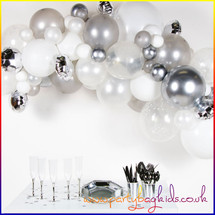 Silver and White Balloon Garland Kit