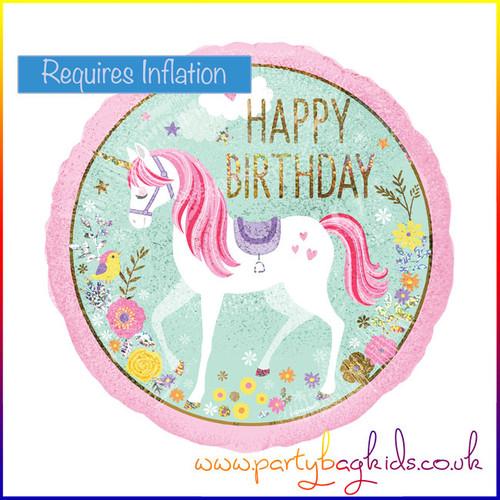 """Unicorn Iridescent Foil Balloon 18"""" Round"""
