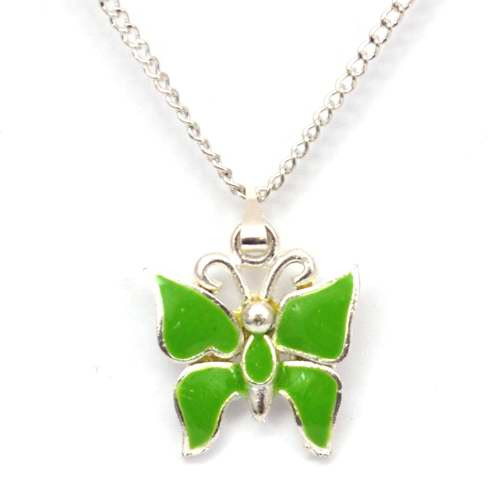 Silver Plated Green Enamelled Butterfly Pendant