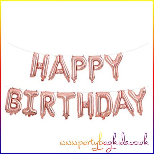 Rose Gold Happy Birthday Banner Kit