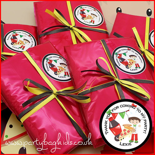 Pizza Themed Personalised Party Bag in Ruby Red