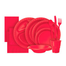 Ruby Red Plastic Party Tableware