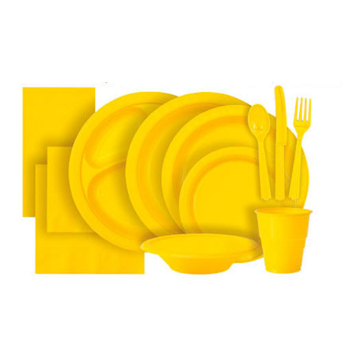 Sunflower Yellow Plastic Party Tableware