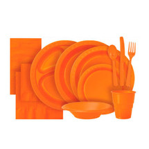 Pumpkin Orange Plastic Party Tableware