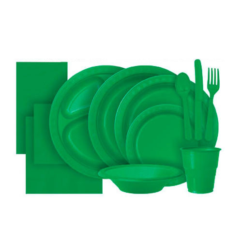 Emerald Green Plastic Party Tableware