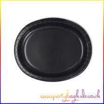Oval Black Paper Party Plate