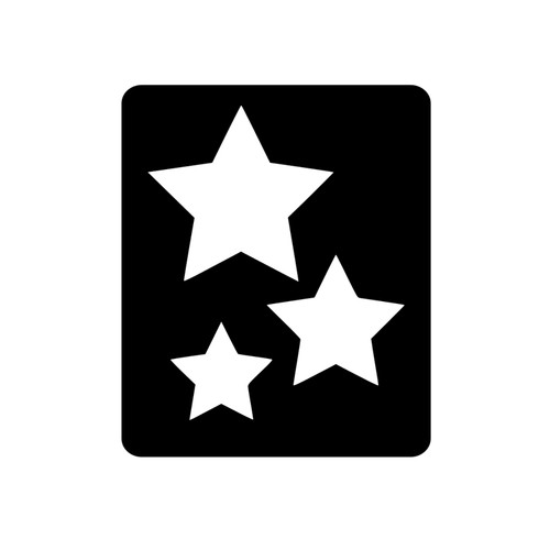 Trio of Stars Glitter Tattoo Stencil