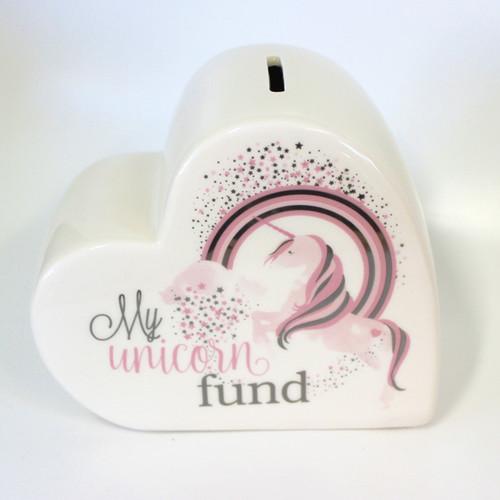 Heart Shaped Unicorn Money Box
