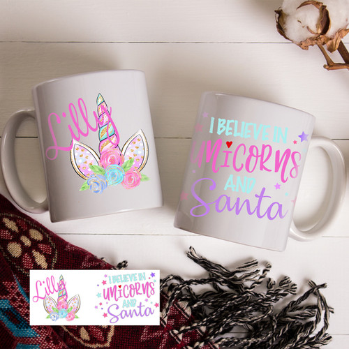 I Believe in Unicorns and Santa Gift Mug